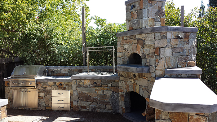 Custom wood fire pizza oven outdoor kitchen sacramento