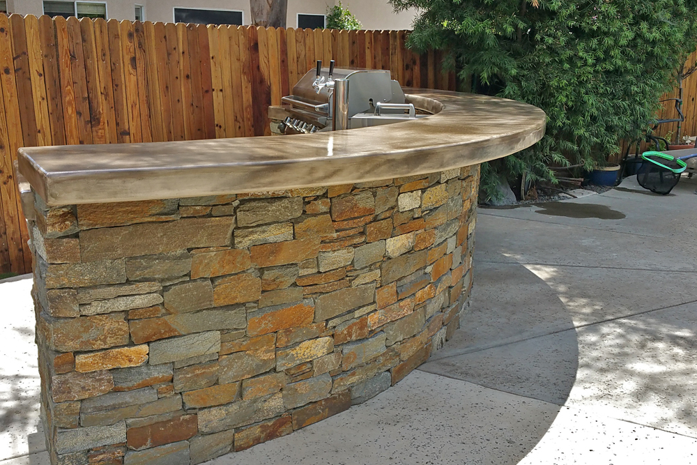 Oval Seating Bar Outdoor Kitchen Custom Image Hardscape