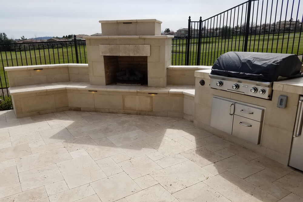 Travertine Stone Pool Deck, BBQ and Natural Gas Fireplace El Dorado Hills