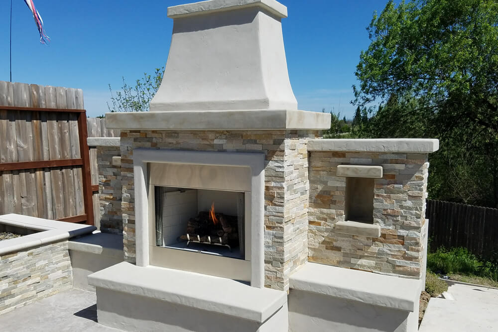 Natural Gas Outdoor Fireplace Design For Luxury Outdoor Space in Rocklin